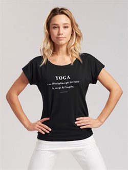 Tempsdanse sort t-shirt med yoga statement
