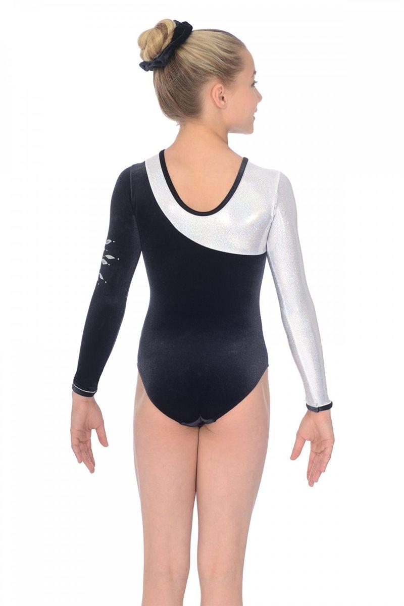 9bb3d02c649d sort sølv gymnastikdragt med lange ærmer til piger