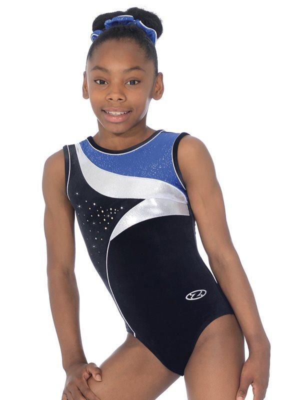 6c73a61ec25e Sort sølv blå gymnastikdragt u.ærmer til piger