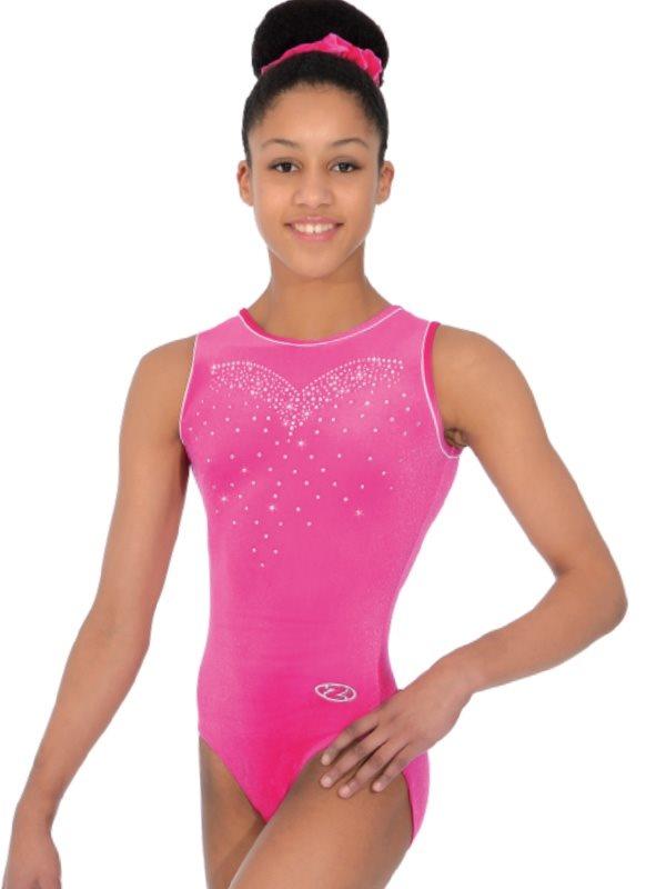 9f9b1e84ad0a Pink velour gymnastikdragt u.ærmer til piger